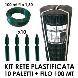 Kit Elettrosaldata Plastificata 25 mt + 10 Paletti Plastificati + Filo 1,3 100 mt