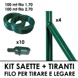 Kit Plastificato 4 Saette + 10 Tiranti + Filo 1,7 100 mt + Filo 2,7 100 mt