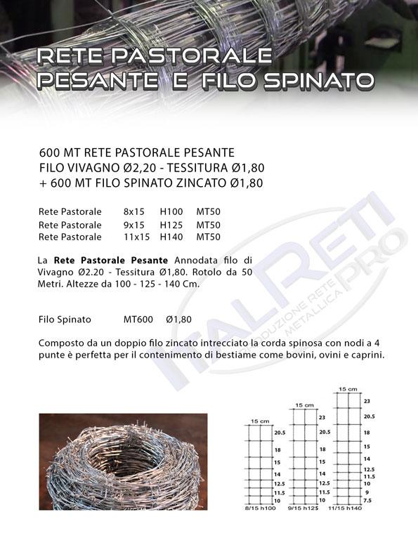 600 mt Rete Pastorale Pesante e 600 mt Filo Spinato